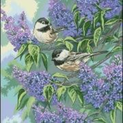 Dimensions 35258 Chickadees and Lilacs